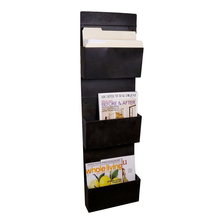 Wall Mounted 3 Tier Metal Vertical File Holder Magazine