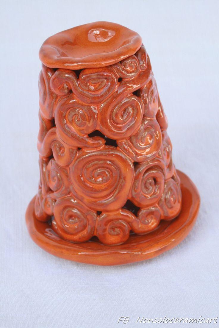 Brucia essenze spirali, smalto arancione | handmade ceramic | ceramic oil burner, spiral decoration, orange