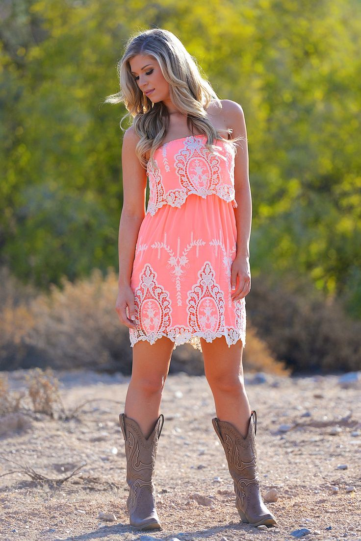 She's A Wild Flower Dress - Neon Coral from Closet Candy Boutique
