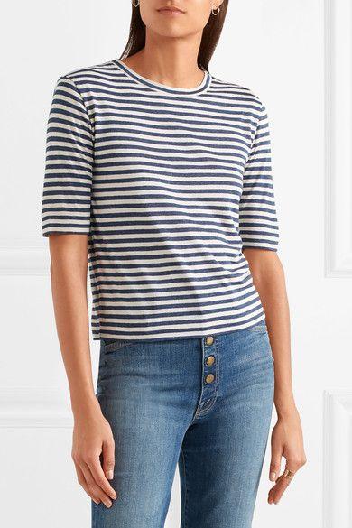Vince - Striped Silk-blend Jersey T-shirt - Navy