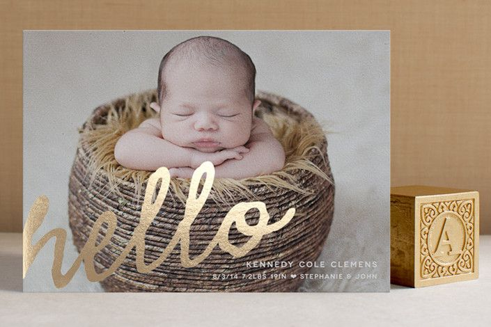 A Simple Hello Foil-Pressed Birth Announcement Cards by Oak Street Press at minted.com