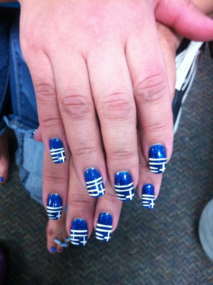 My Greek flag nails in honor of MoroMou's birthday!
