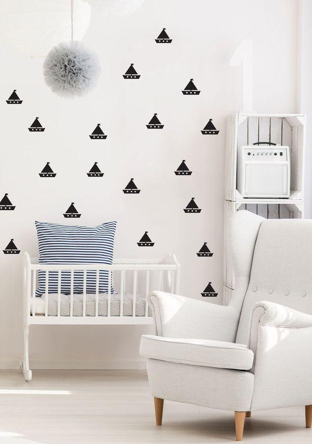 Łódki - naklejki ścienne - Szare-Kropki - Naklejki na ścianę dla dzieci