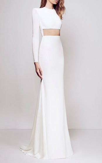 FOR THE DRESS || Modern minimalism with midriff cut out || NOVELA BRIDE...where the modern romantics play & plan the most stylish weddings... www.novelabride.com @novelabride #jointheclique