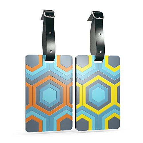 Shacke Luggage Tags with Genuine Leather Strap - Set of 2 (Honeycombs)