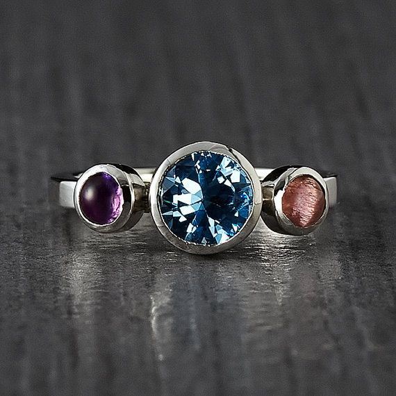 Three Stone Silver Ring  Handmade Engagement  Stacking by EnLitho, €80.00