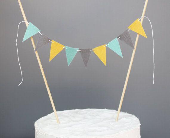 Gâteau jaune, gris et bleu sarcelle Bunting bannière, Aqua moutarde et gris Cake Topper pièce maîtresse, douche de bébé, de mariage, décoration de fête anniversaire