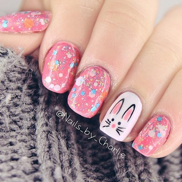 Simple Bunny Accent Nail for Easter