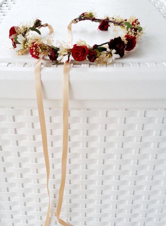 Winter Wedding Hair accessories Flower Crown Wine burgundy marsala Bridal party dried silk floral garland accessories flower girl halo