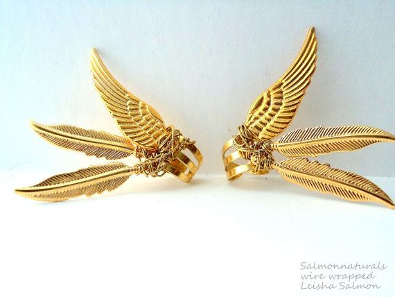 Winged unleashed Valkyrie style Ear cuffs piercing imitation jewelry- wings earring cufff jewelry