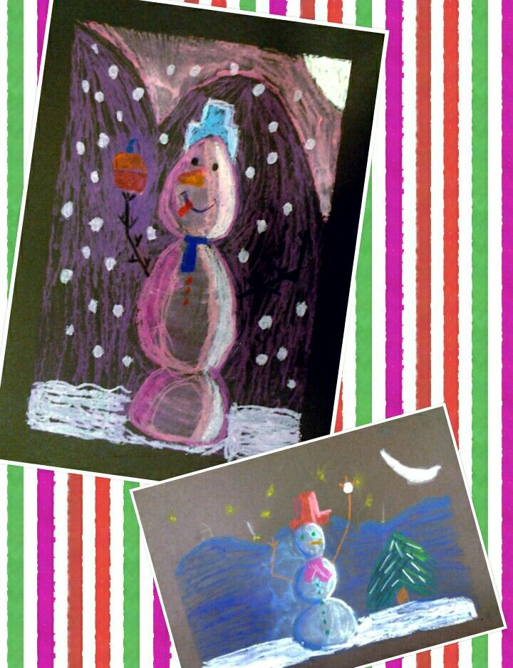 A very popular winter art project and a very nice way o teach shading. All kids love drawing snowmen but this project gives them a new perspective! We used black paper and oil pastels.