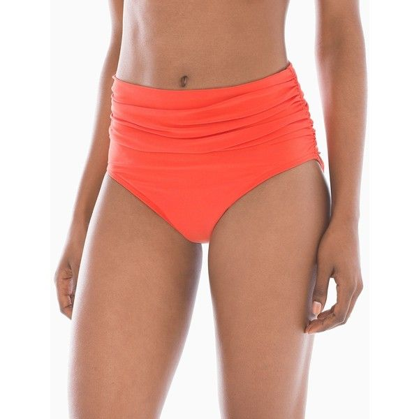 Soma Magicsuit Shirred High Waist Swim Bottom ($50) ❤ liked on Polyvore featuring swimwear, bikinis, bikini bottoms, bottoms, flamingo, slimming swimwear, ruched high waisted bikini bottom, slimming bikinis, high waisted bikini bottoms and scrunch bikini