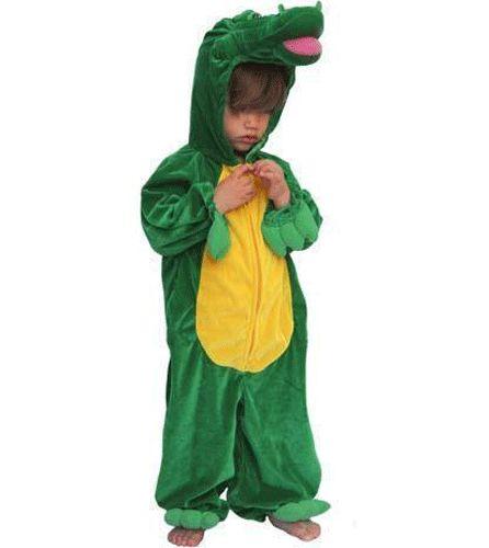 Krokodil kinder kostuum pluche. Een stoere maar schattig kostuum van een krokodil voor kinderen. Dit krokodil kostuum is groen met geel, 1 geheel, en sluit met een rits bij de buik. Bij de polsen en de enkeltjes zitten echte pootjes en op het hoofd van uw kind ligt een krokodillenhoofd.