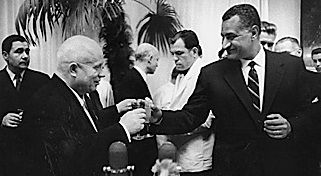 [Nikita Khrushchev and Nasser above] In 1952 the Egyptian monarchy was overthrown and Gamal Abdel Nasser took control of the country. Nasser wanted to cut Egypt with its colonial links, he successfully negotiated terms with Britain and the last British troop left Egypt on June 13 1956. However there was still a British presence in Egypt, as together with France they owned the Suez Canal Company, and exploited the cheap Middle Eastern oil travelling through the Suez, this infuriated Nasser.