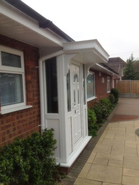 White pvcu door and side screens with canopy complete this porch supplied and installed by Unicorn Windows Ltd of Leighton Buzzard, Bedfordshire