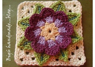 TUTORIAL: Waterflower granny square. #crochet