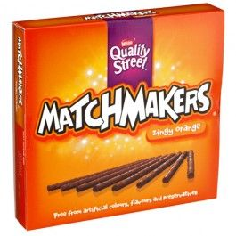 Orange flavoured chocolates with skimmed milk chocolate, dark chocolate and boiled sugar pieces.