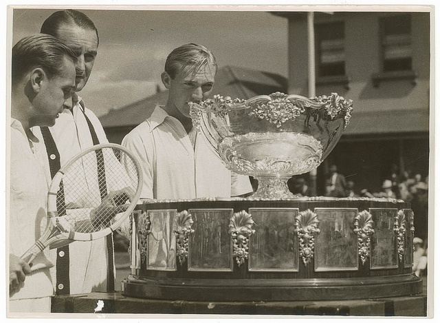 Australians John Bromwich and Adrian Quist with the Davis Cup, Pratten Park, Ashfield, Sydney, November 1939 / photographer Sam Hood. Find more detailed information about this photographic collection: http://acms.sl.nsw.gov.au/item/itemDetailPaged.aspx?itemID=153771  From the collection of the State Library of New South Wales : www.sl.nsw.gov.au/