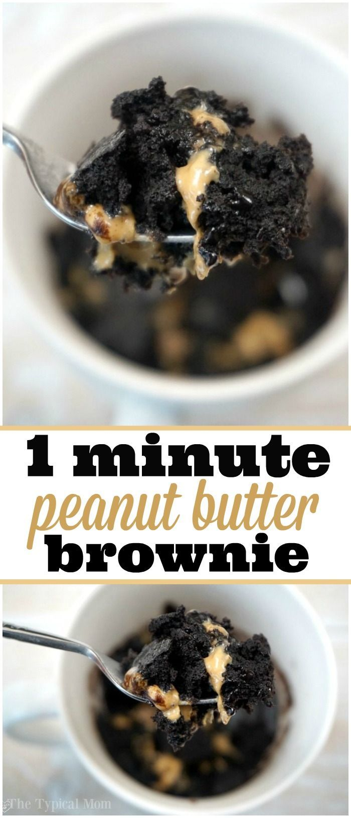 Peanut butter brownie in a mug recipe, it's amazing!! Throw it all together, stick in the microwave for 1 min. and it's done! #brownie #mug #easy #cookie #peanutbutter via @thetypicalmom