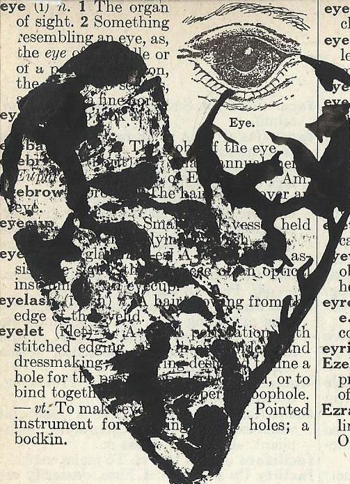 Aceo Original Painting. Heart on a Vintage Dictionary Page. Halloween Art