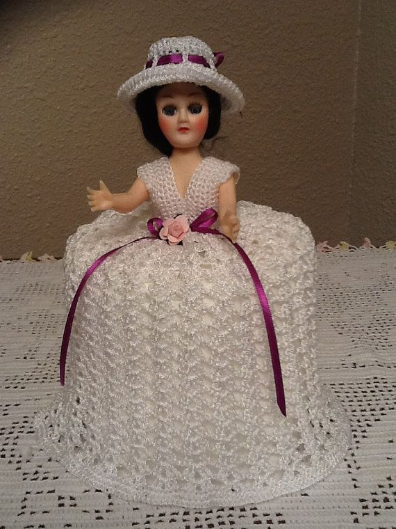 Knitting Pattern For Toilet Paper Holder : Beautiful Handmade Crochet Doll Toilet Paper Holder by SylviaCrochets, USD15.00...