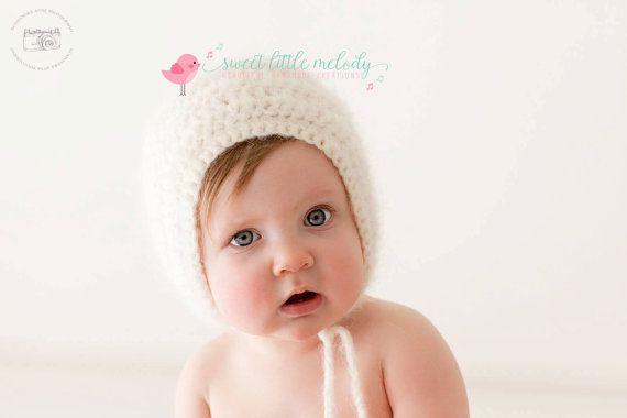 Cream Baby bonnet Crochet Bonnet Newborn by SweetLittleMelody