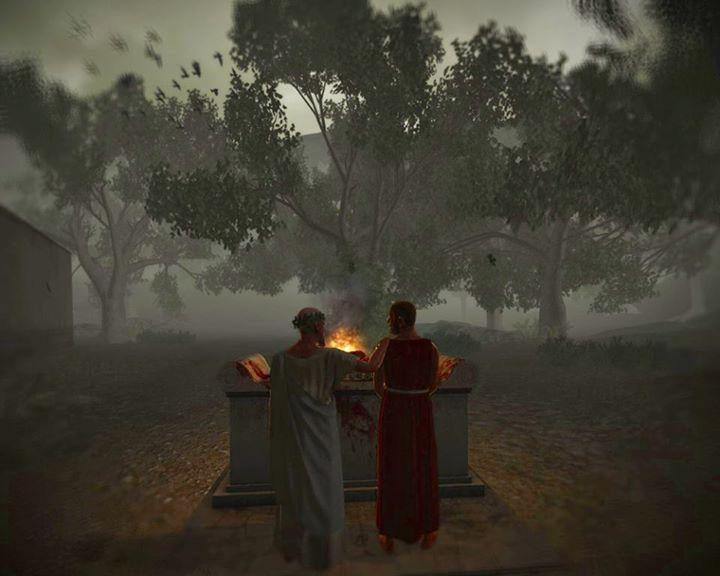Θυσία ζώου σε βωμό - θυσιαστήριο, από ιερομάντες - Ψηφιακή απεικόνιση  Offering Sacrifice on a marble altar - Digital Fantasy art