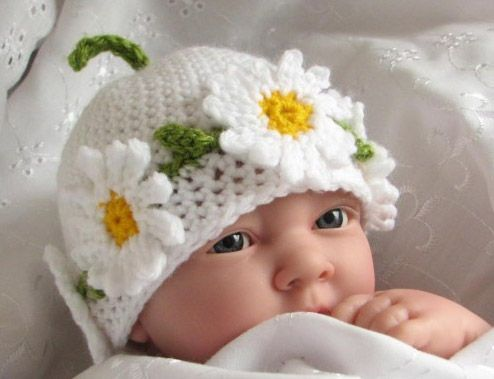 Daisy baby hat.: Chains Hats, Babies, Hats Patterns, Daisies Chains, Crochet Hats, Crochet Baby, Daisy Chain, Baby Hats, Crochet Patterns