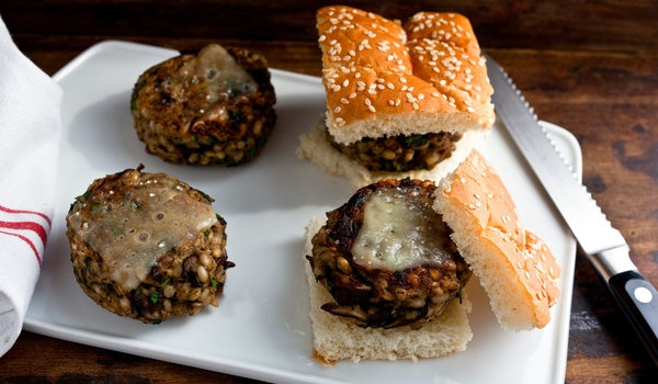 Mushroom and Rice Veggieburgers: Fun Recipes, Brown Rice, Burgers Recipe, Veggies Burgers, Mushrooms Barley, Veggies Mushroombarley, Nytimes Com, Mushroombarley Burgers, Grains Cheeseburgersyum