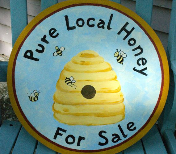 bee skep pure local honey for sale sign by squawkingrooster beekeeping honey bees. Black Bedroom Furniture Sets. Home Design Ideas