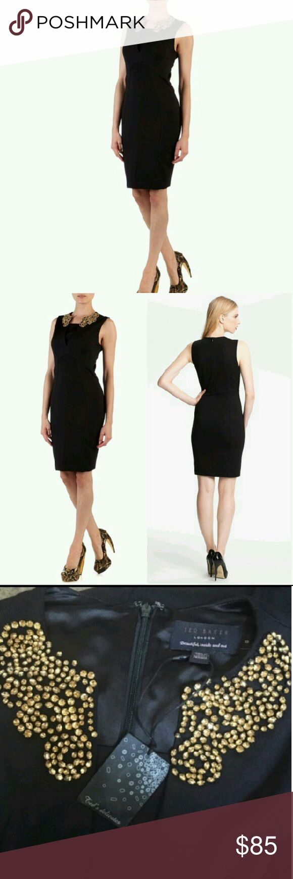 Ted Baker Gold Embell. Neckline Black Dress Black dress just above the knees (I am 5'6), perfectly embellished with gold beading around the neckline (only on the front). A super cute, very sophisticated and modest dress perfect for any occasion. This is a size 0. Ted Baker Dresses