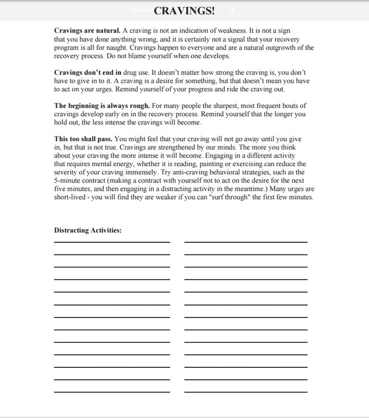 Cravings Worksheet Professional Relapse Prevention