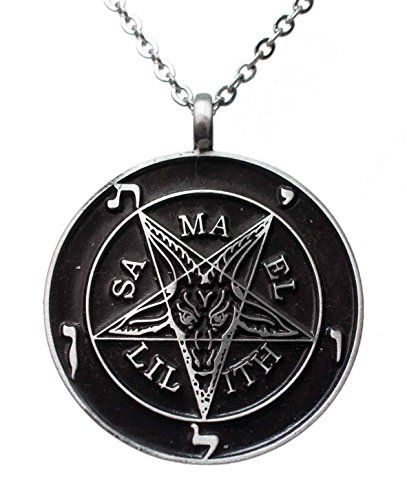 """Exoticdream Inverted Pentagram Samael Lilith Baphomet Satanic Sabbatic Goat Lucifer Wiccan Pewter Pendant (24"""" Stainless Steel). High quality satanists inverted star symbol pewter pendant. Pendant material: Pewter , Size: 2"""" diameter. Included 24"""" Stainless Steel Necklace 316L. great quality pewter pendant from exoticdream. Fast shipping from Amazon warehouse."""