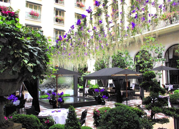 Amazing view of our marble courtyard with Jeff Leatham's purple rain of orchids
