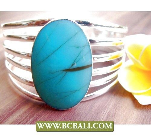 Stone turquoise alpaka silver cuff bracelets
