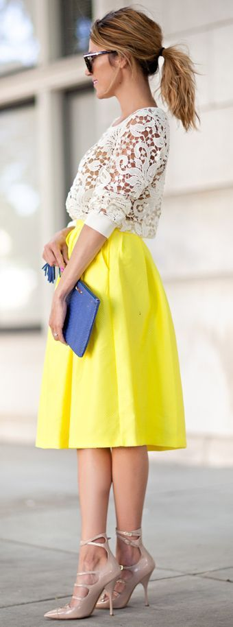 Women's fashion | Yellow skirt and lace top