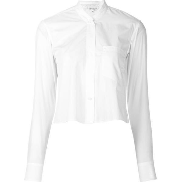 Pre-Owned Helmut Lang Nwt White Cotton Cropped Long Sleeve Button Up... ($166) ❤ liked on Polyvore featuring tops, blouses, shirts, white, long sleeve crop top, button down shirts, white cotton blouse, white crop top and long-sleeve crop tops