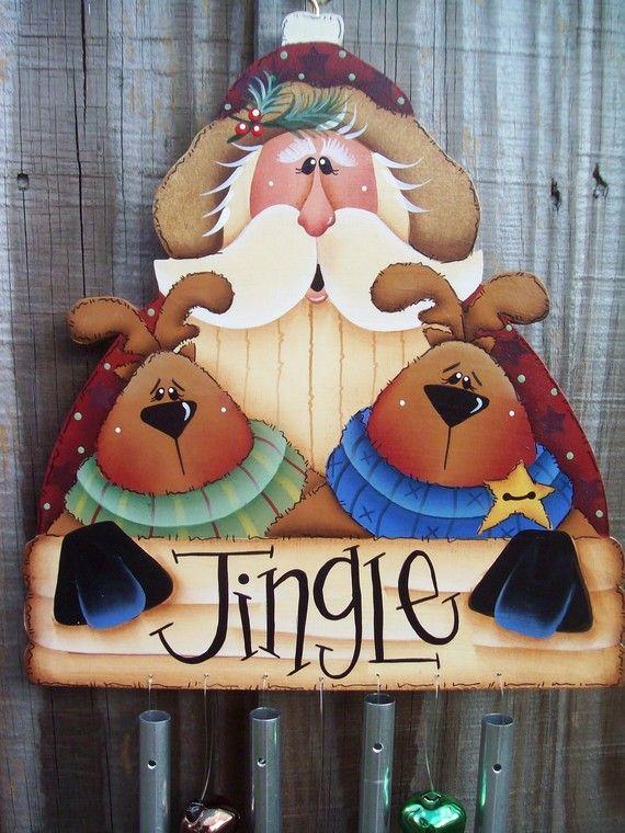 Handpainted Santa and Reindeer Windchimes