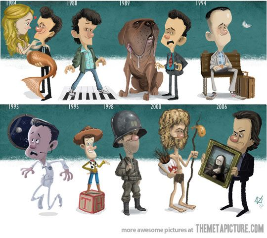 Adorable tribute to 9 of Tom Hanks' most famous performances! Splash, Big, Turner & Hooch, Forrest Gump, Apollo 13, Toy Story, Saving Private Ryan, Cast Away and The Da Vinci Code :)