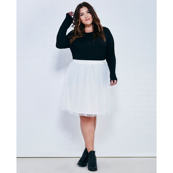 Hot Shot Hk Llc  Tulle Midi Tutu Skirt ($23) ❤ liked on Polyvore featuring plus size women's fashion, plus size clothing, plus size skirts, ivory, plus size, wet seal, tulle tutu skirt, sheer skirt, plus size tutu skirt and tutu skirts