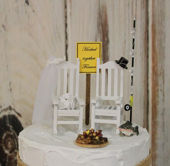 Fishing Cake Topper Wedding Bride And Groom Rocking Chairs Country Barn Wooden Rustic