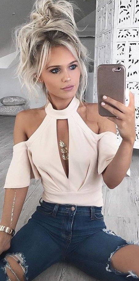 Nude Bodysuit + Denim                                                                             Source