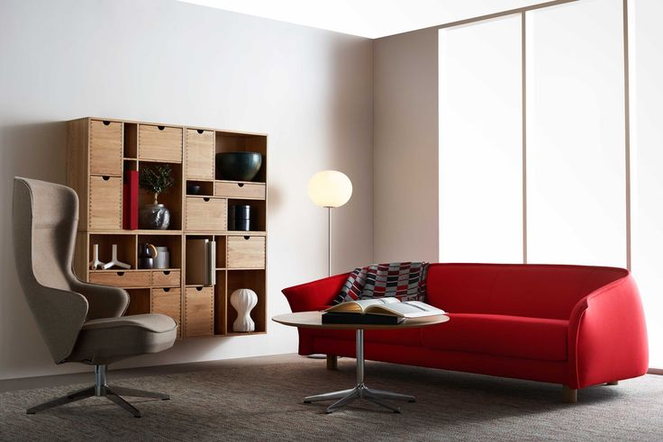 Swedese - Diva sofa by Staffan Holm, Fakta shelf by Yngve Ekström, Norma easy chair by Roger Persson