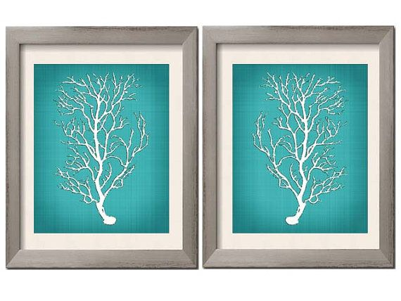 Beach House Decor, Teal Wall Art, Teal Art, Teal White, Teal Sea Coral, Beach Bathroom, Teal Bedroom Decor, Set of 2, Bathroom Decor on Etsy, $20.00