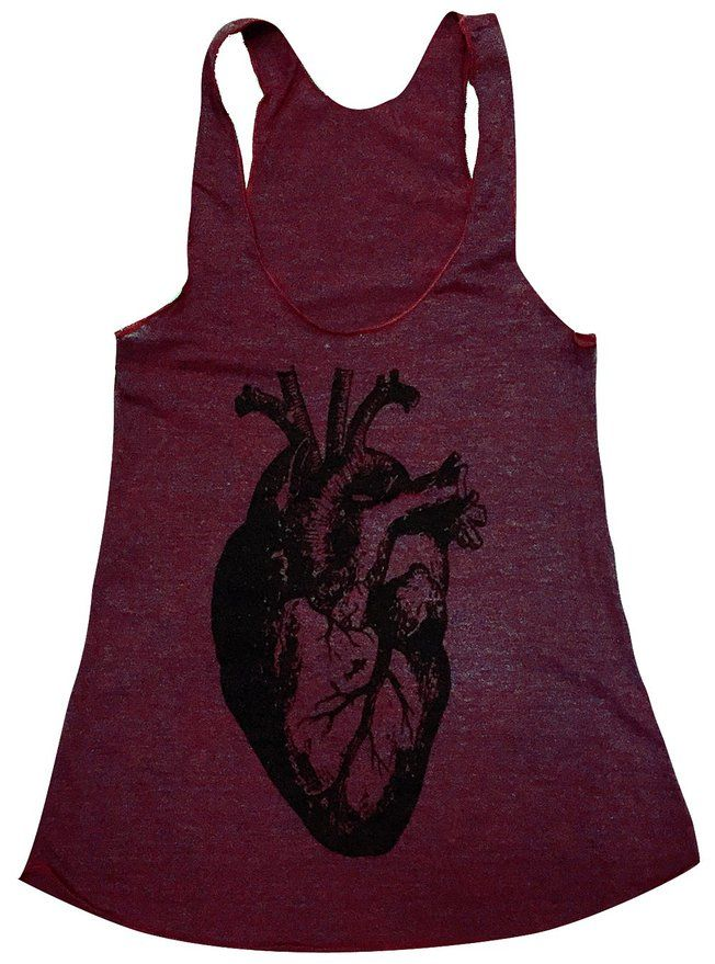 Friendly Oak Women's Anatomical Heart Tank top - This would be an AWESOME work out shirt for nurses or other healthcare professionals. Nurse gifts, medical gifts, nurse fashion, anatomical gift. affiliate