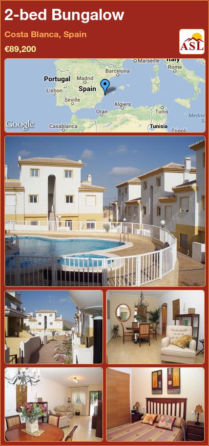 2-bed Bungalow in Costa Blanca, Spain ►€89,200 #PropertyForSaleInSpain