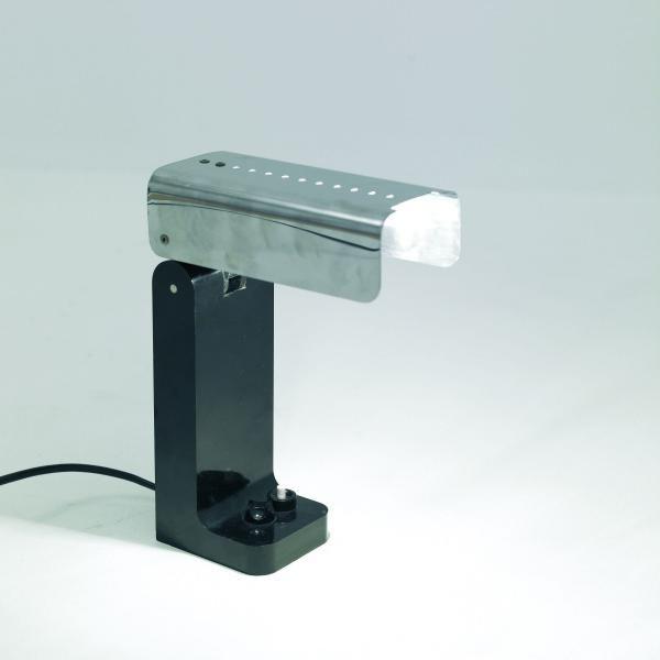 "Joe COLOMBO 1930-1971 Lampe ""Vademecum""- 1968 Base en plastique noir, réflecteur escamotable en inox poli Edition Kartell"