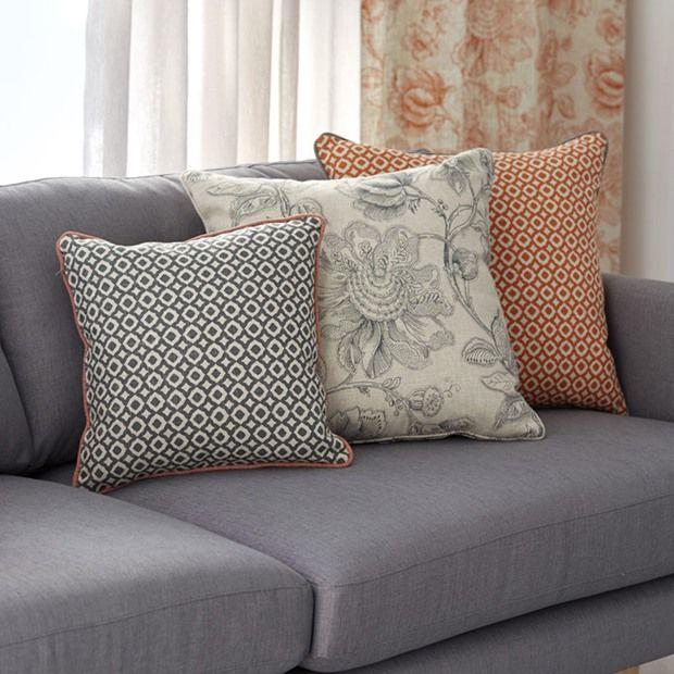 Warwick Fabrics: MANDALAY / fabric textiles / upholstered ottoman / cushions / sofa