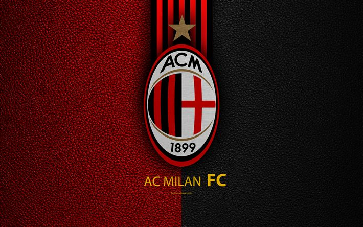 Download wallpapers AC Milan, 4k, Italian football club, Serie A, emblem, Milan FC logo, leather texture, Milan, Italy, Italian Football Championships