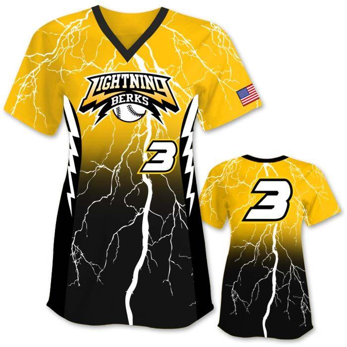 Elite Thunderstruck Design Your Own Softball Jersey Online At Www Teamsportsplanet Com Includes Everything Softball Uniforms Softball Jerseys Softball